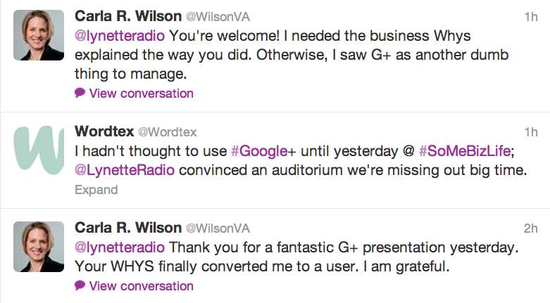 Lynette Young Feedback on Google+ Talks